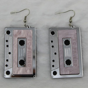 Silver Cassette Tape Earrings!!!